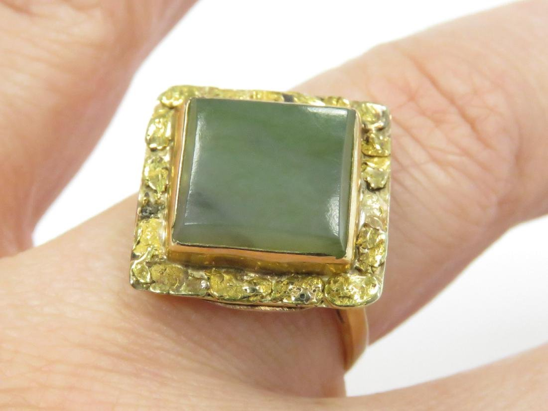 14K YELLOW GOLD AND JADE RING. RING SIZE 8 1/2; GROSS
