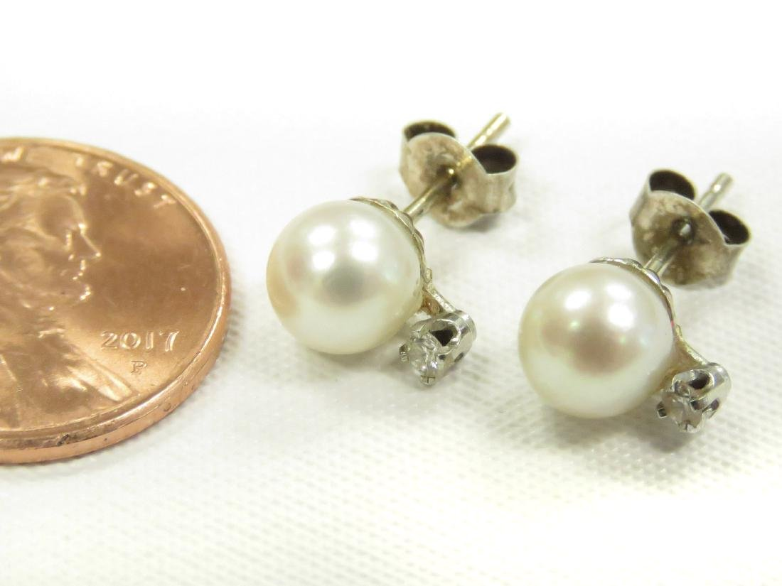 PAIR 14K YELLOW GOLD, PEARL (6MM) AND DIAMOND PIERCED
