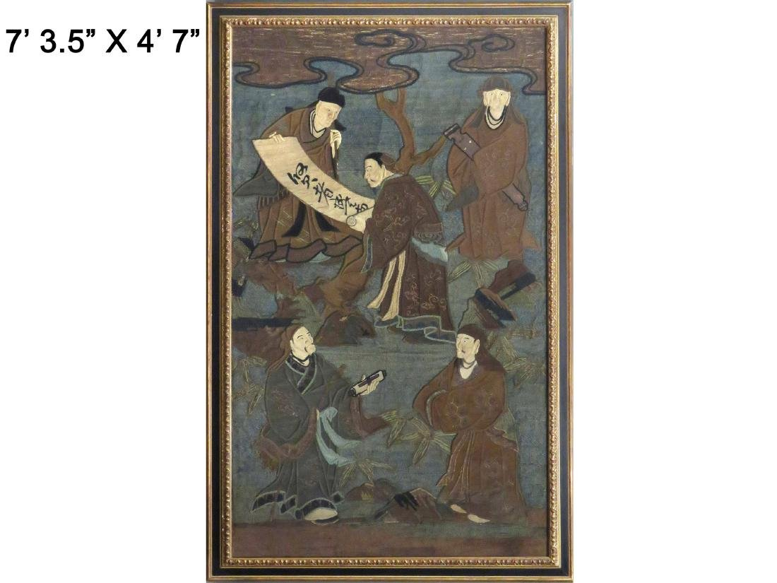 CHINESE SILK AND WOOL EMBROIDERED APPLIQUE/TAPESTRY