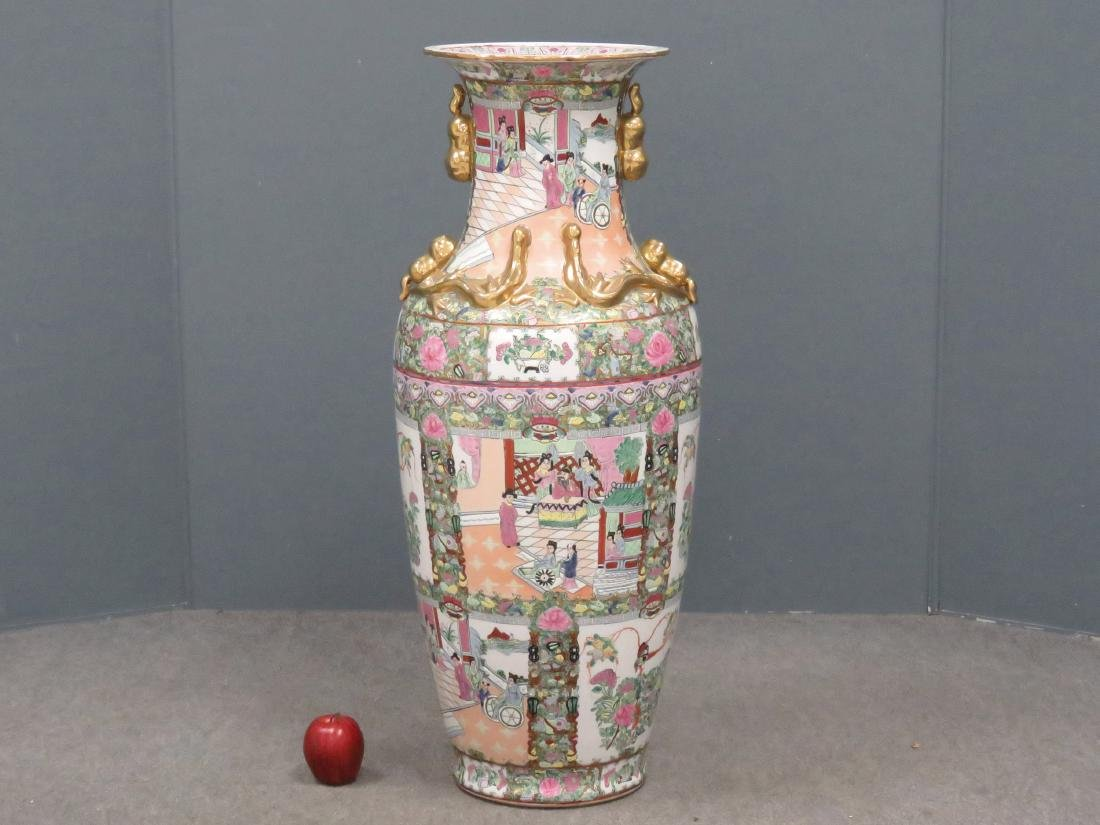 CHINESE FAMILLE ROSE DECORATED PORCELAIN PALACE VASE.