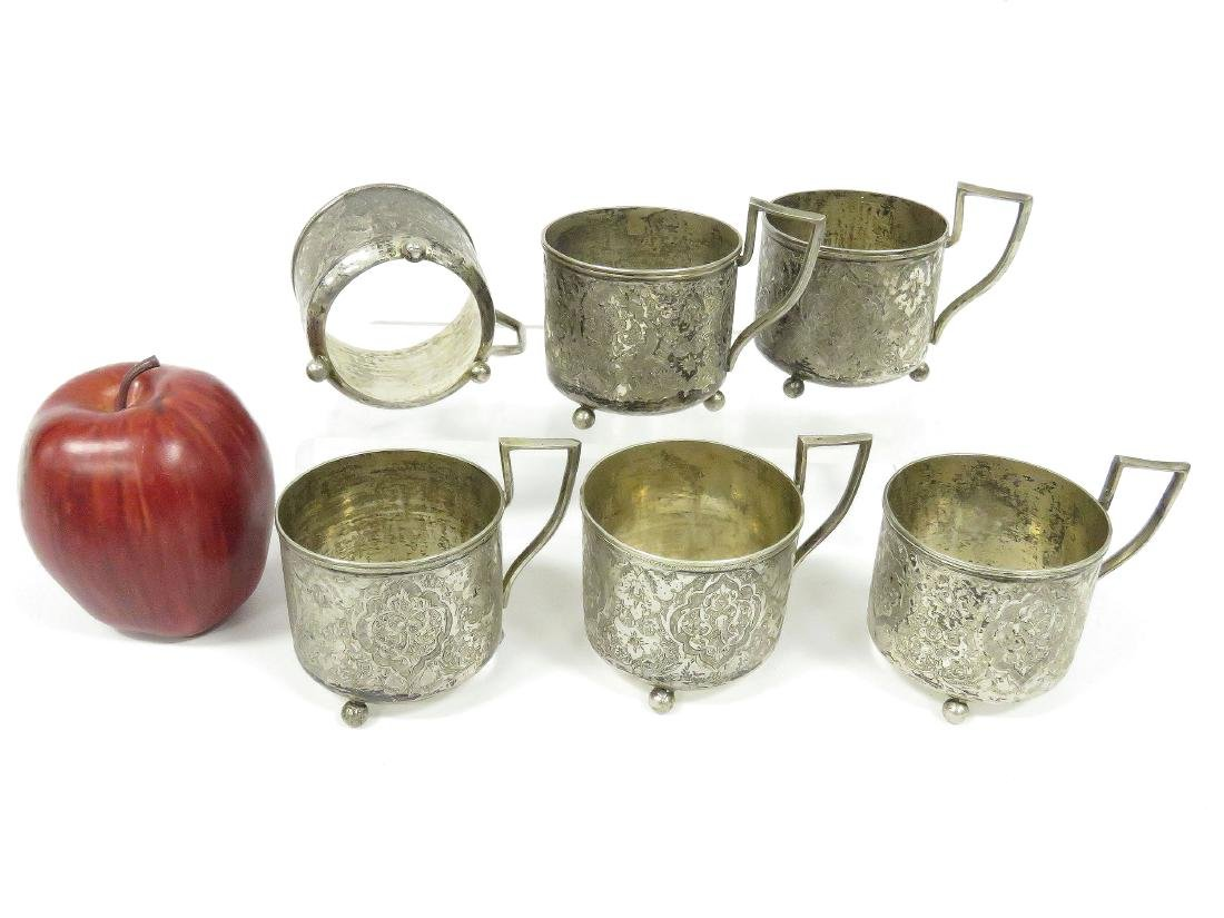 SET (6) PERSIAN DESIGN TEA GLASS HOLDERS ON BALL FEET,