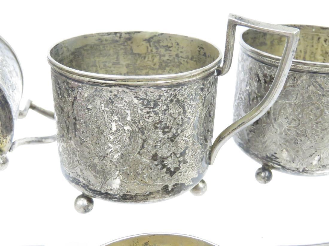 SET (6) PERSIAN DESIGN TEA GLASS HOLDERS ON BALL FEET, - 2