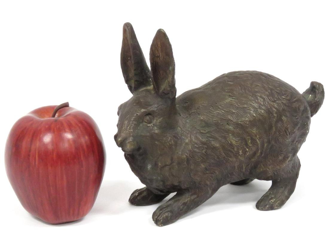 BRONZE HARE SCULPTURE, UNSIGNED. LENGTH 7 1/2""