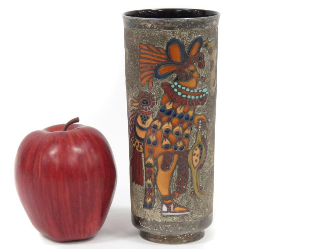 MIGUEL PINEDA ENAMELED SILVER VASE, SIGNED. HEIGHT 6