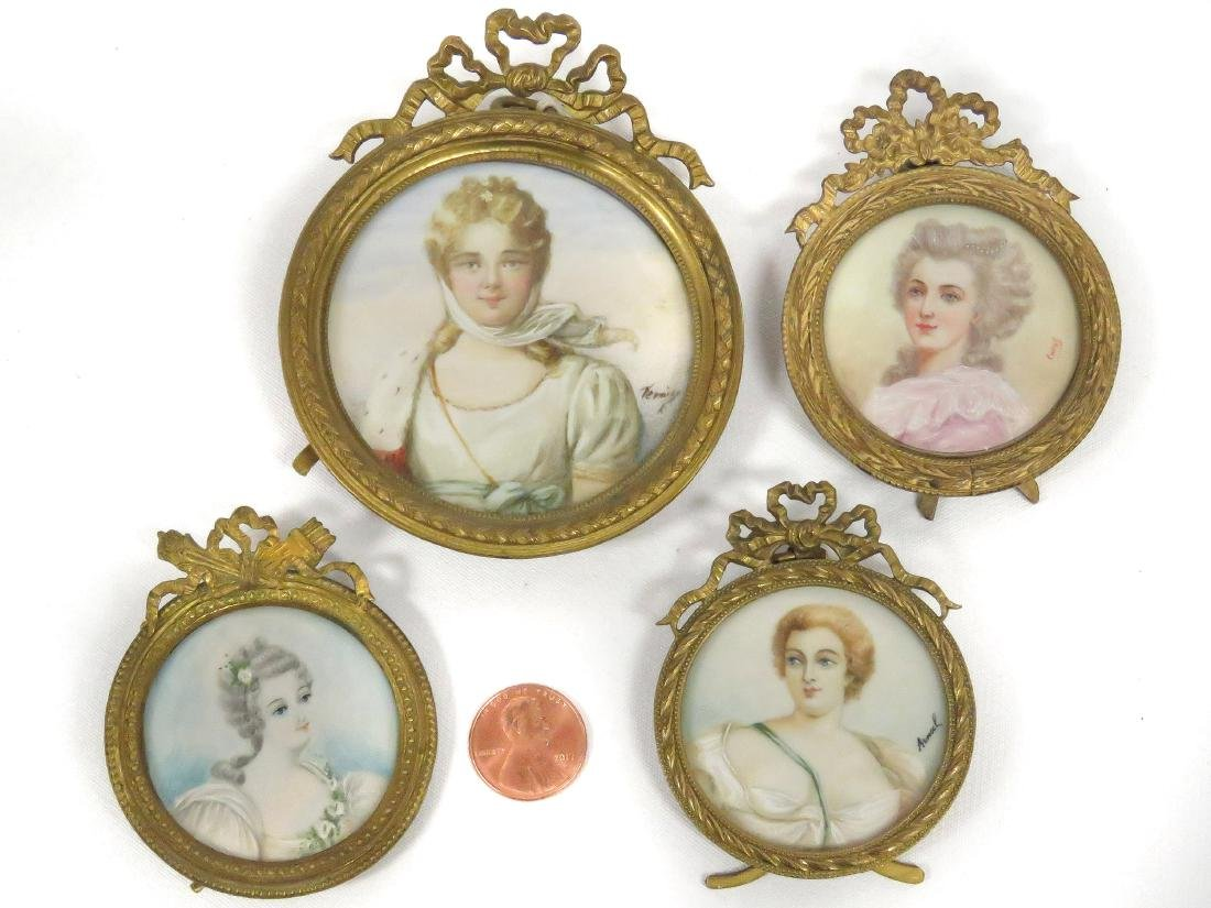LOT (4) MINIATURE PORTRAITS, 19/20TH CENTURY, SIGNED.