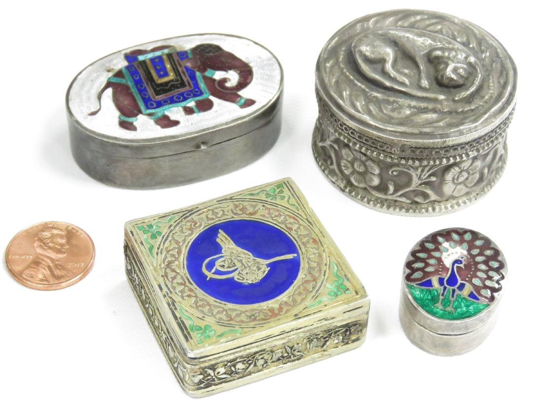 LOT (4) CONTINENTAL AND ENAMEL SILVER PILL BOXES.