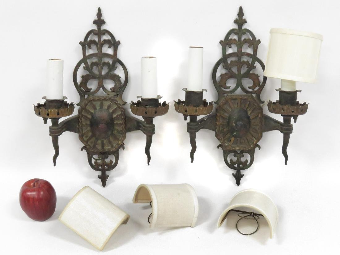 PAIR VINTAGE RENAISSANCE STYLE PAINTED BRASS SCONCES.
