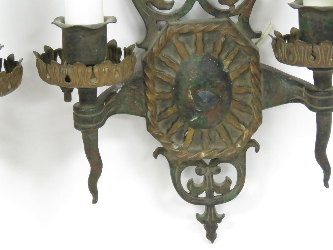PAIR VINTAGE RENAISSANCE STYLE PAINTED BRASS SCONCES. - 2