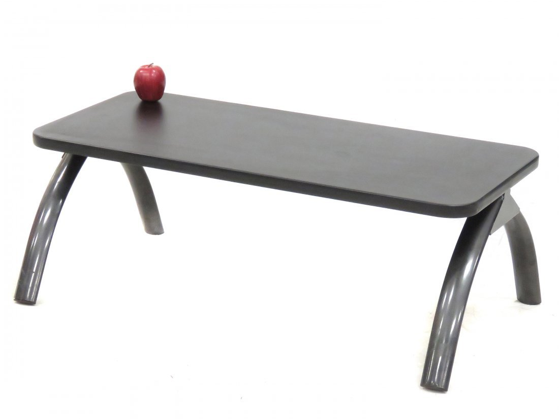 DESIGNER MODERN STEEL AND LAMINATE LOW TABLE. HEIGHT 15