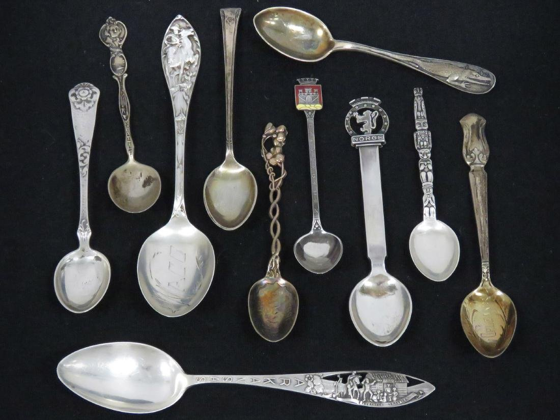 LOT (11) STERLING AND SILVER CONDIMENT, DEMITASSE AND