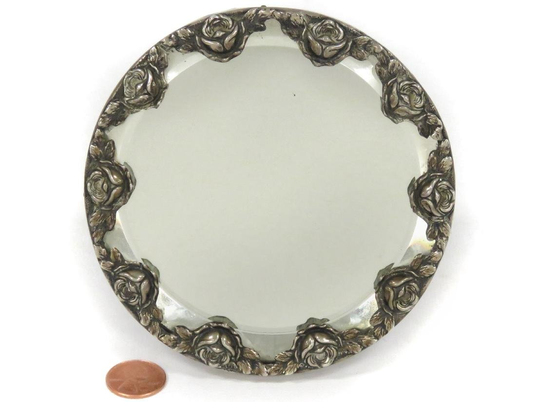 CONTINENTAL SILVER BEVELED STANDING MIRROR. DIAMETER 4