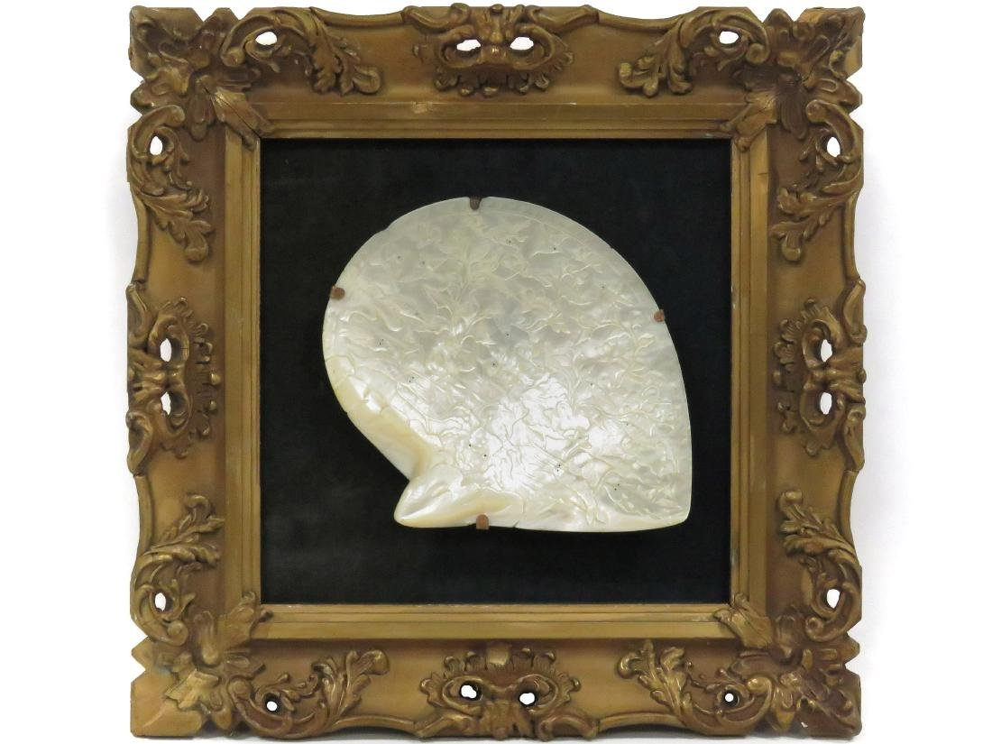 "CHINESE CARVED SHELL. 6 3/4 X 7""; FRAMED 14 X 14"""