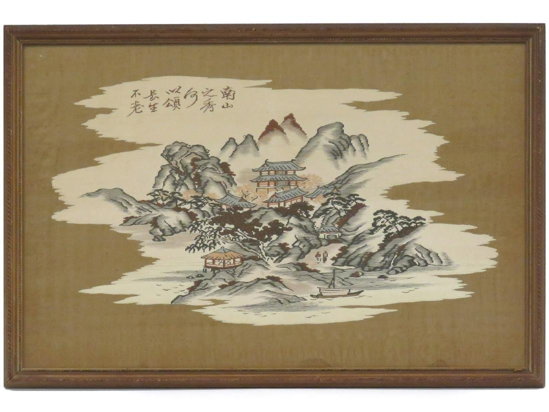 CHINESE KESI EMBROIDERED PANEL LANDSCAPE. FRAMED AND
