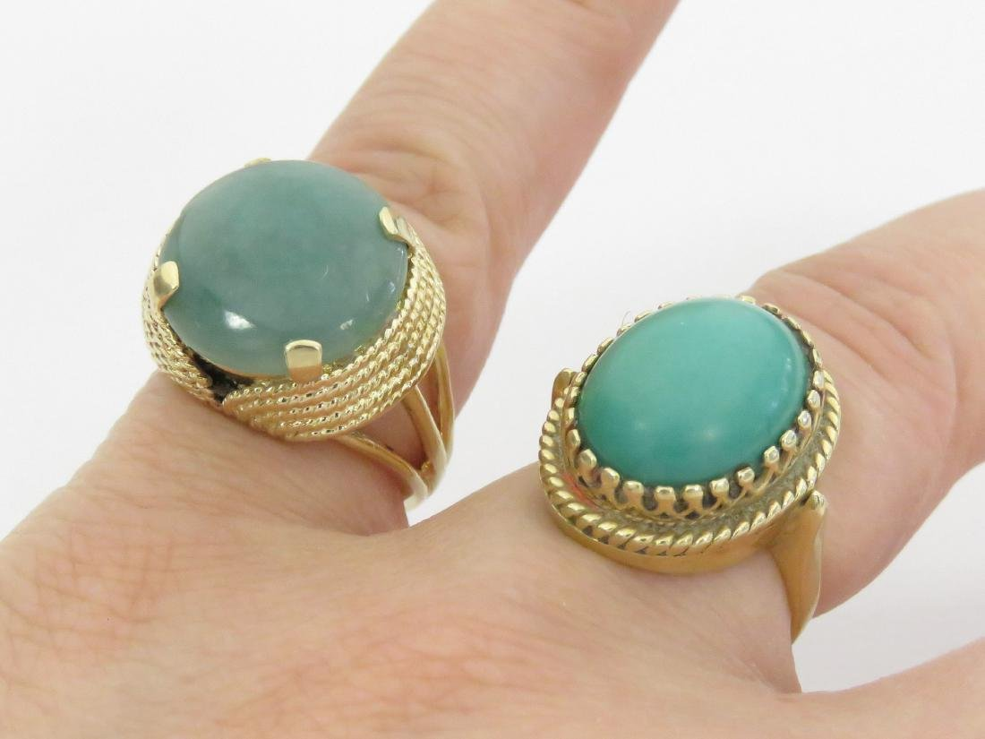 LOT (2) 14K YELLOW GOLD RINGS INCLUDING TURQUOISE AND