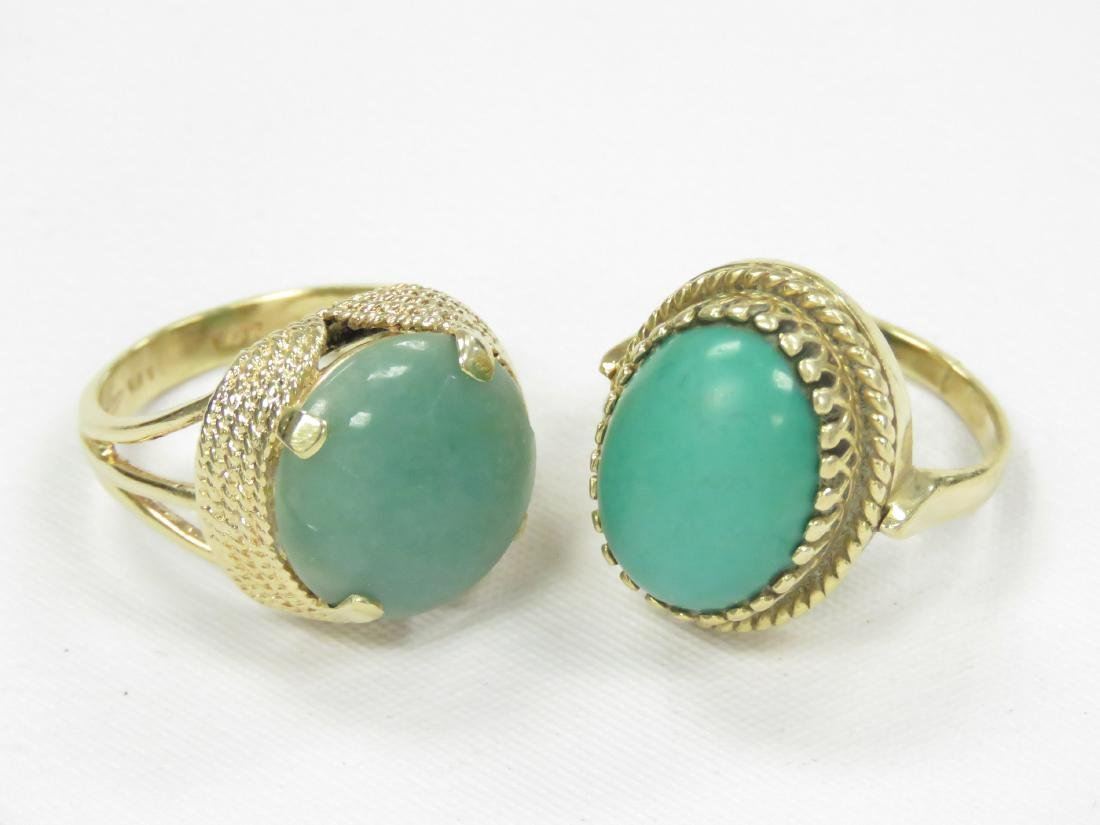 LOT (2) 14K YELLOW GOLD RINGS INCLUDING TURQUOISE AND - 2