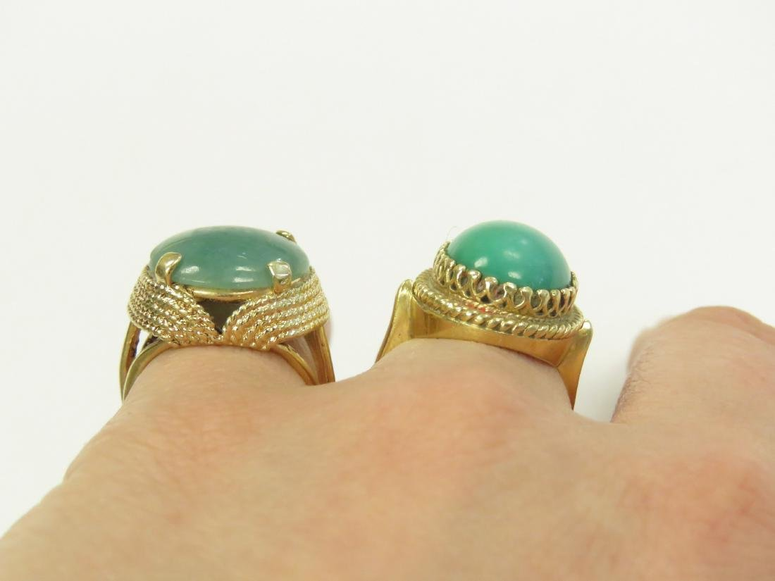 LOT (2) 14K YELLOW GOLD RINGS INCLUDING TURQUOISE AND - 4
