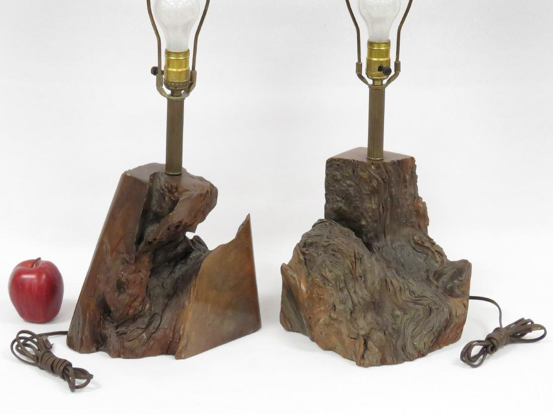 LOT (2) BURL WALNUT BASE TABLE LAMPS. HEIGHT 22""