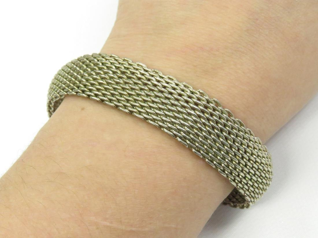 "TIFFANY & CO. 925 SILVER ""SOMERSET"" MESH BRACELET."