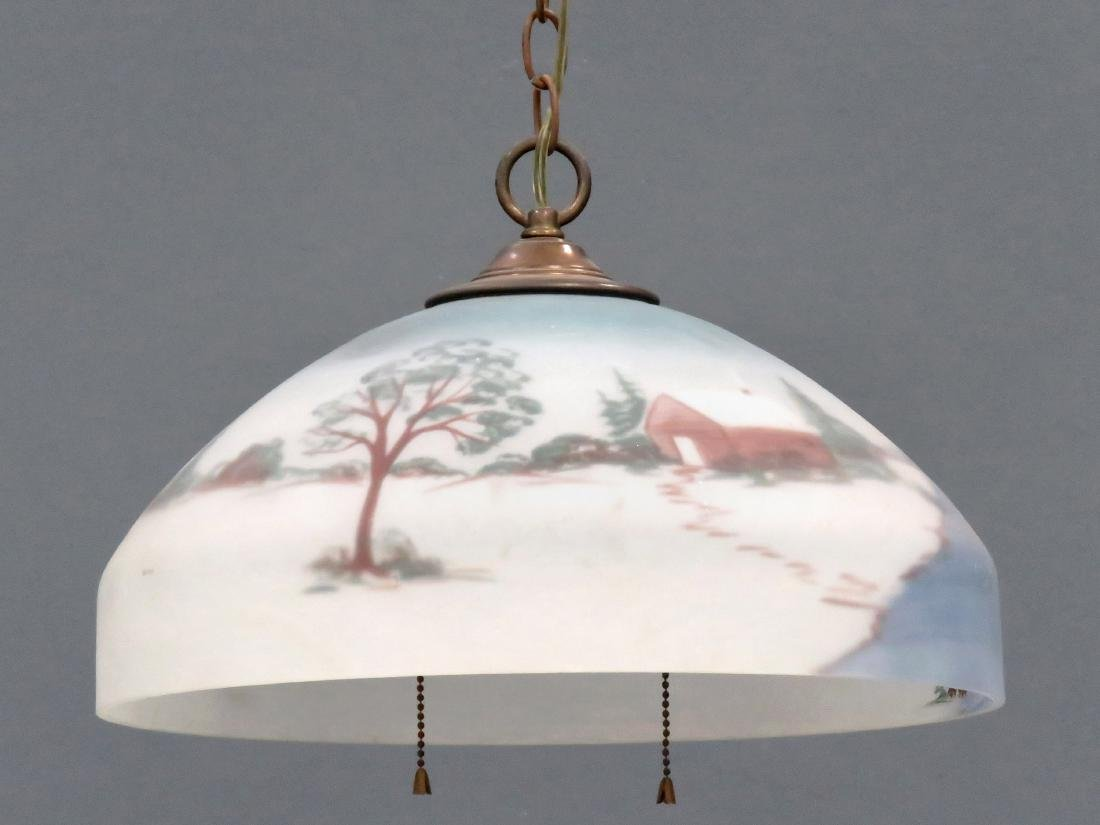 REVERSE DECORATED HANGING GLASS DOME, SIGNED. DIAMETER
