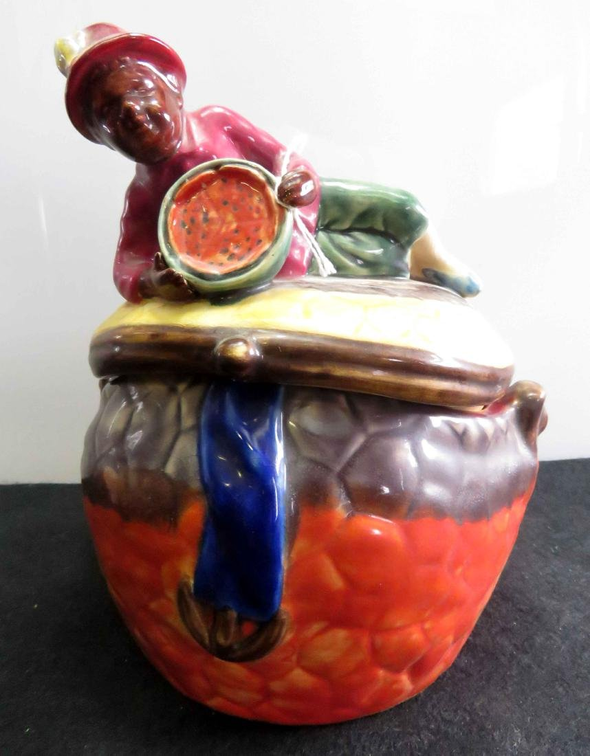 BLACK AMERICANA MAJOLICA FIGURAL COOKIE JAR. HEIGHT 8