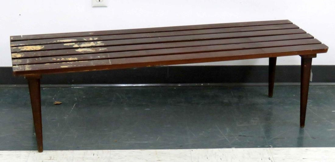 DESIGNER MODERN SLAT-TOP LOW BENCH WITH TAPERED LEGS