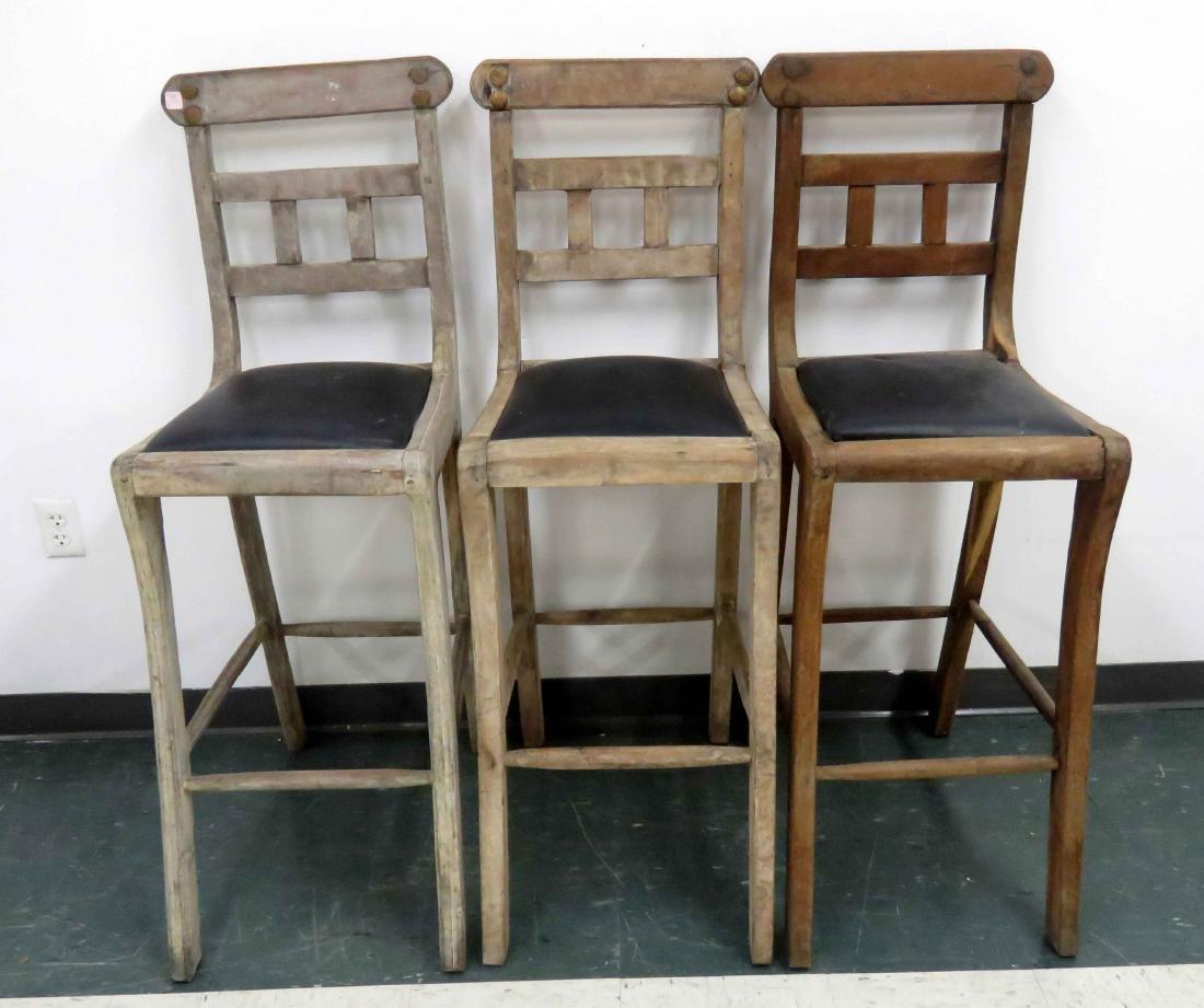 LOT (3) CARVED MAHOGANY BAR STOOLS