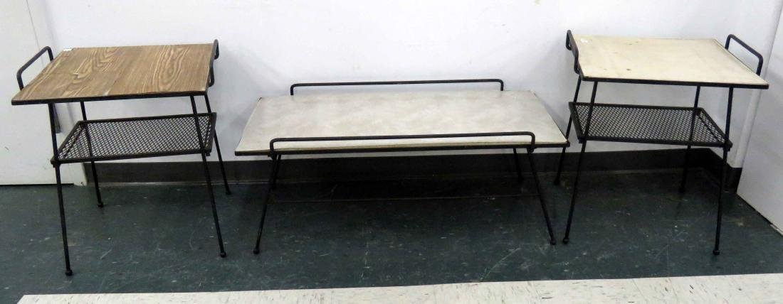 LOT (3) WROUGHT IRON AND MESH PATIO TABLES