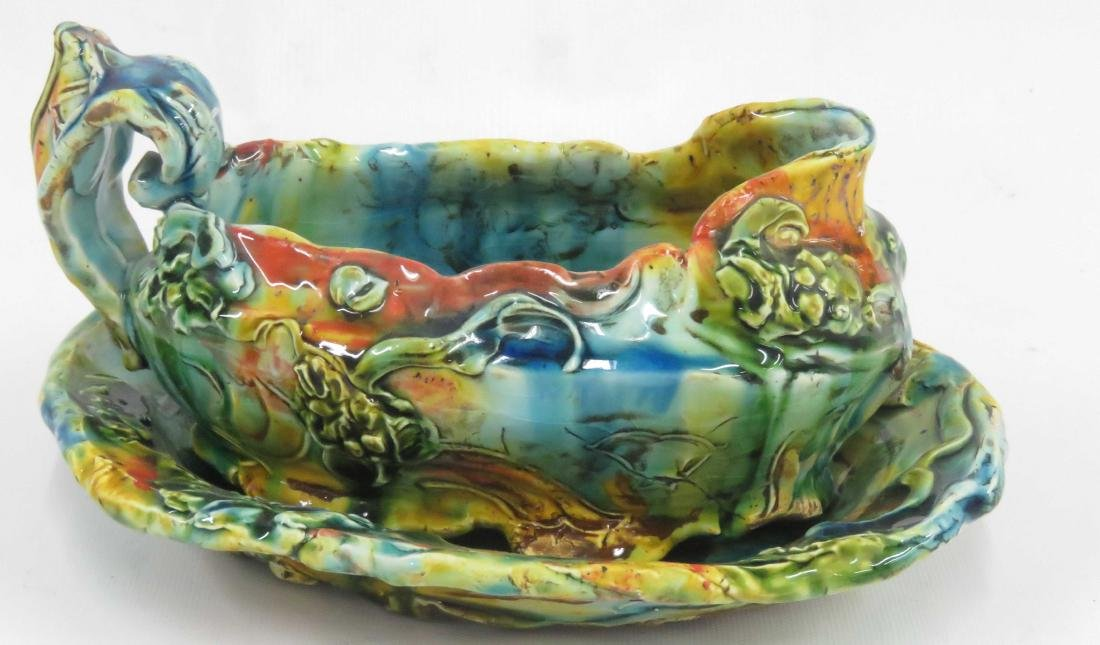 ANTIQUE CHINESE MAJOLICA GRAVY BOAT AND UNDER PLATE.