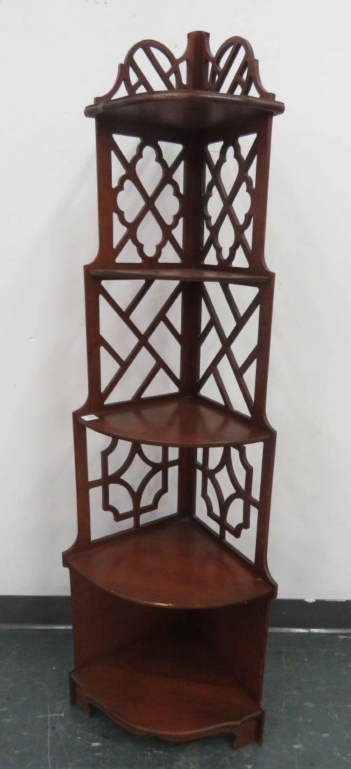 CHIPPENDALE STYLE CARVED CHERRY CORNER STAND. HEIGHT 53