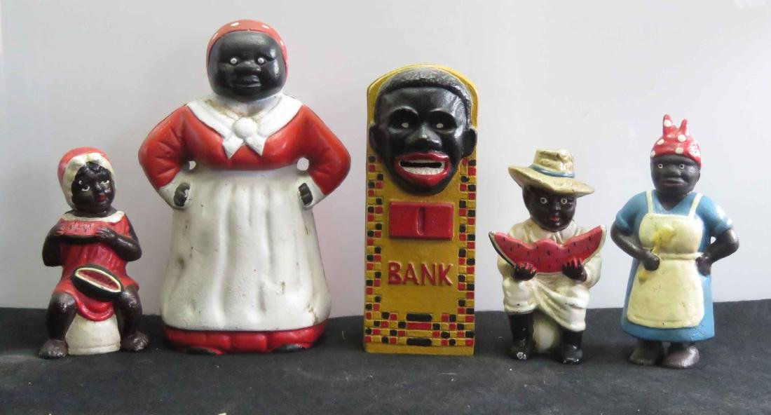 LOT (5) BLACK AMERICANA INCLUDING CAST IRON BANKS
