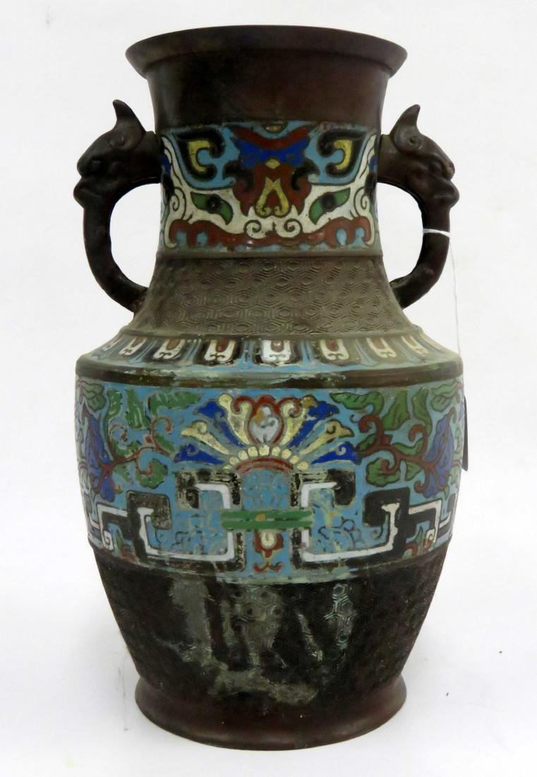 """CHINESE BRONZE CHAMPLEVE DOUBLE-HANDLE VASE. HEIGHT 12"""""""
