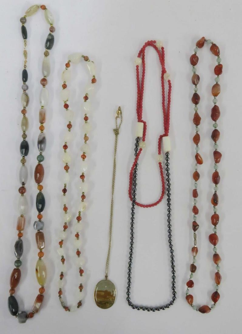 LOT ASSORTED HARDSTONE BEADED NECKLACE INCLUDING