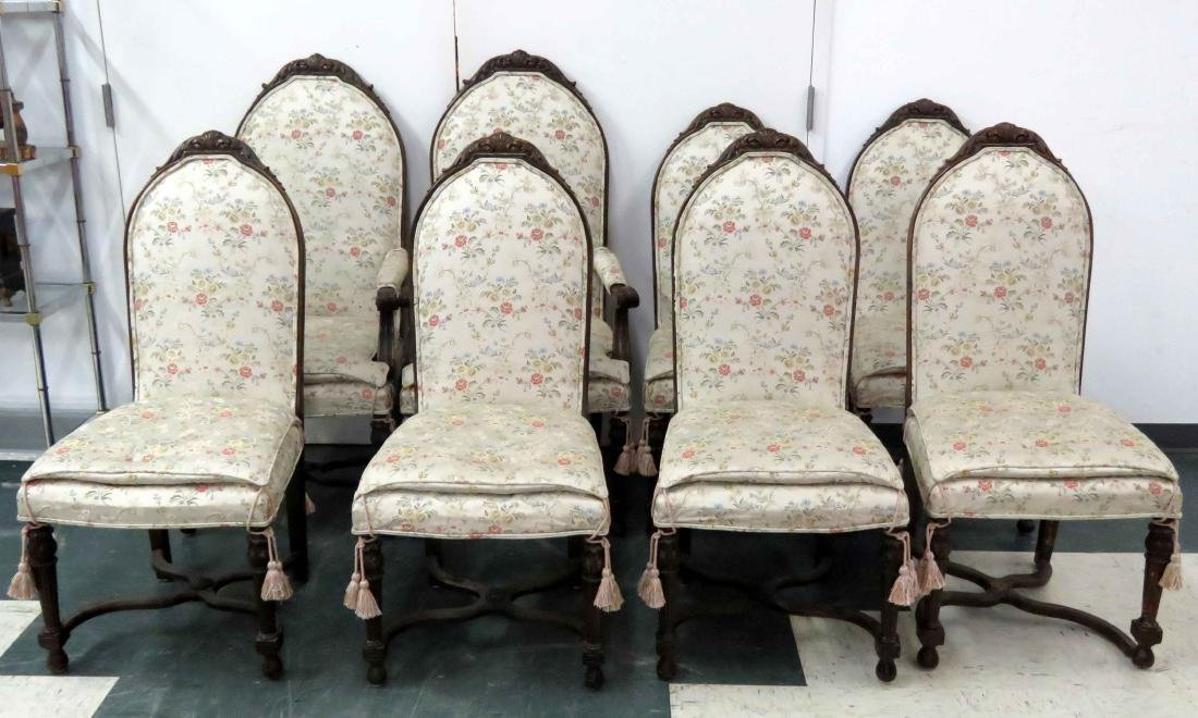 SET (8) REGENCY STYLE CARVED WALNUT DINNING CHAIRS