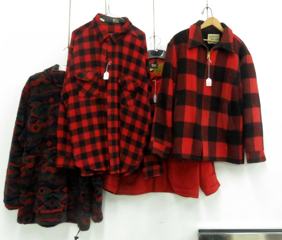LOT (4) INCLUDING WOOLRICH RED & BLACK PLAID JACKET,