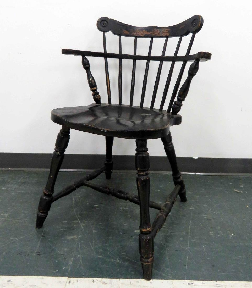 CARVED PINE AND PAINTED SHORT ARM WINDSOR CHAIR