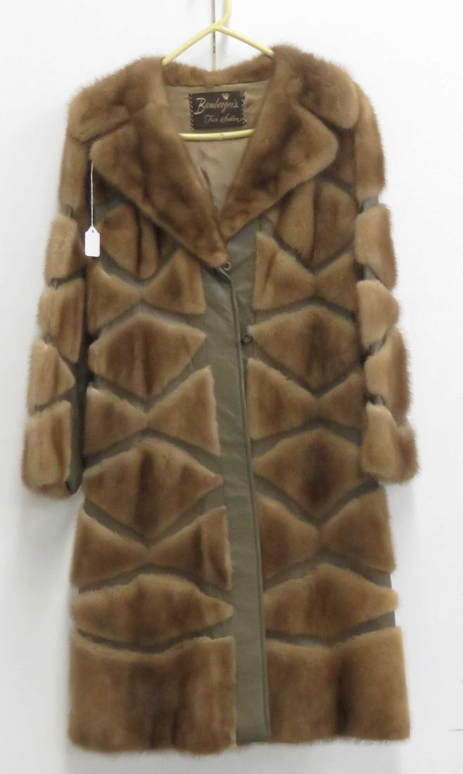 WOMAN'S MINK AND LEATHER CAR COAT
