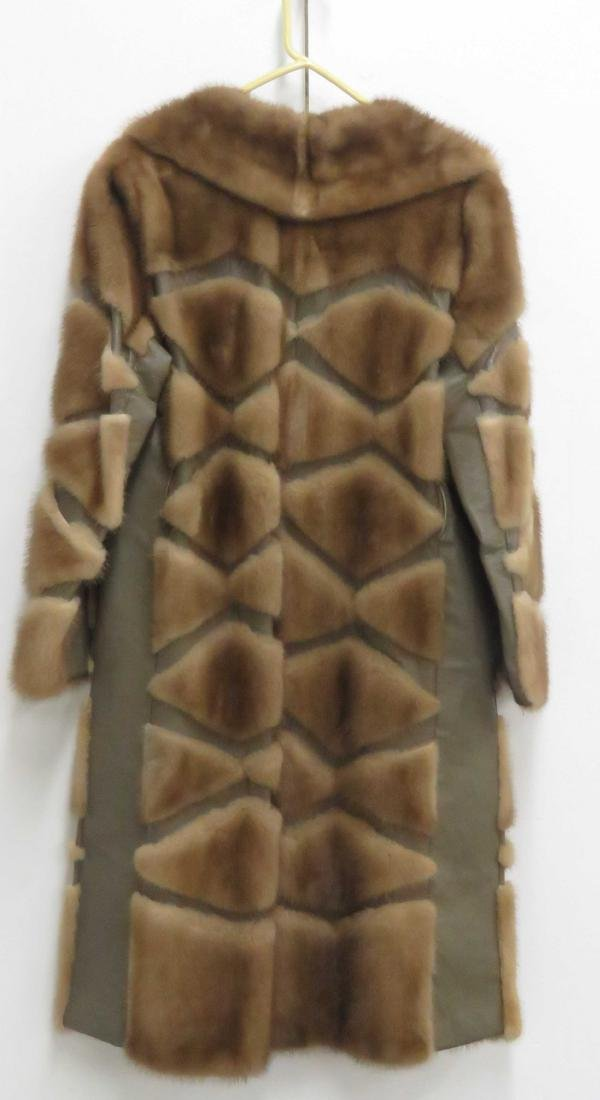 WOMAN'S MINK AND LEATHER CAR COAT - 2