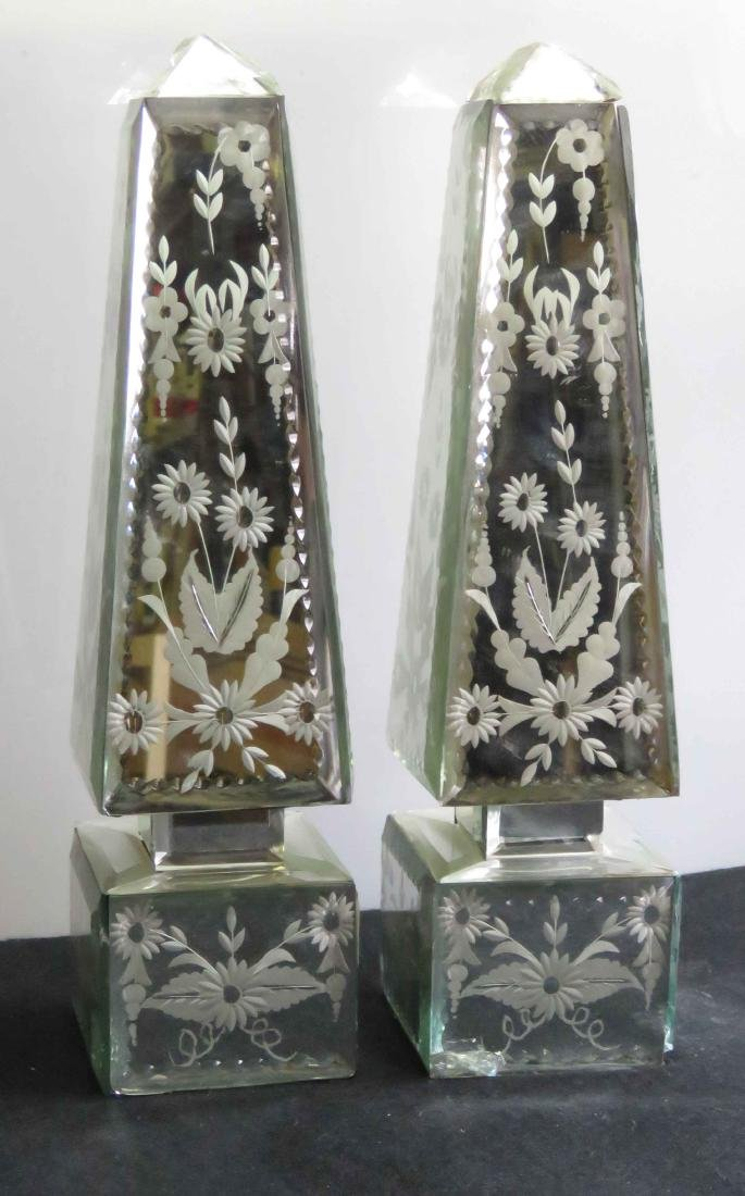 """PAIR VENETIAN STYLE ETCHED GLASS OBELISKS. HEIGHT 13"""""""