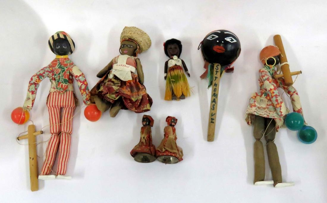 LOT (7) VINTAGE BLACK AMERICANA INCLUDING PUPPETS,