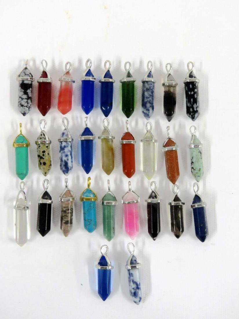 LOT (29) CHINESE HARDSTONE AND GLASS PENDANTS INCLUDING