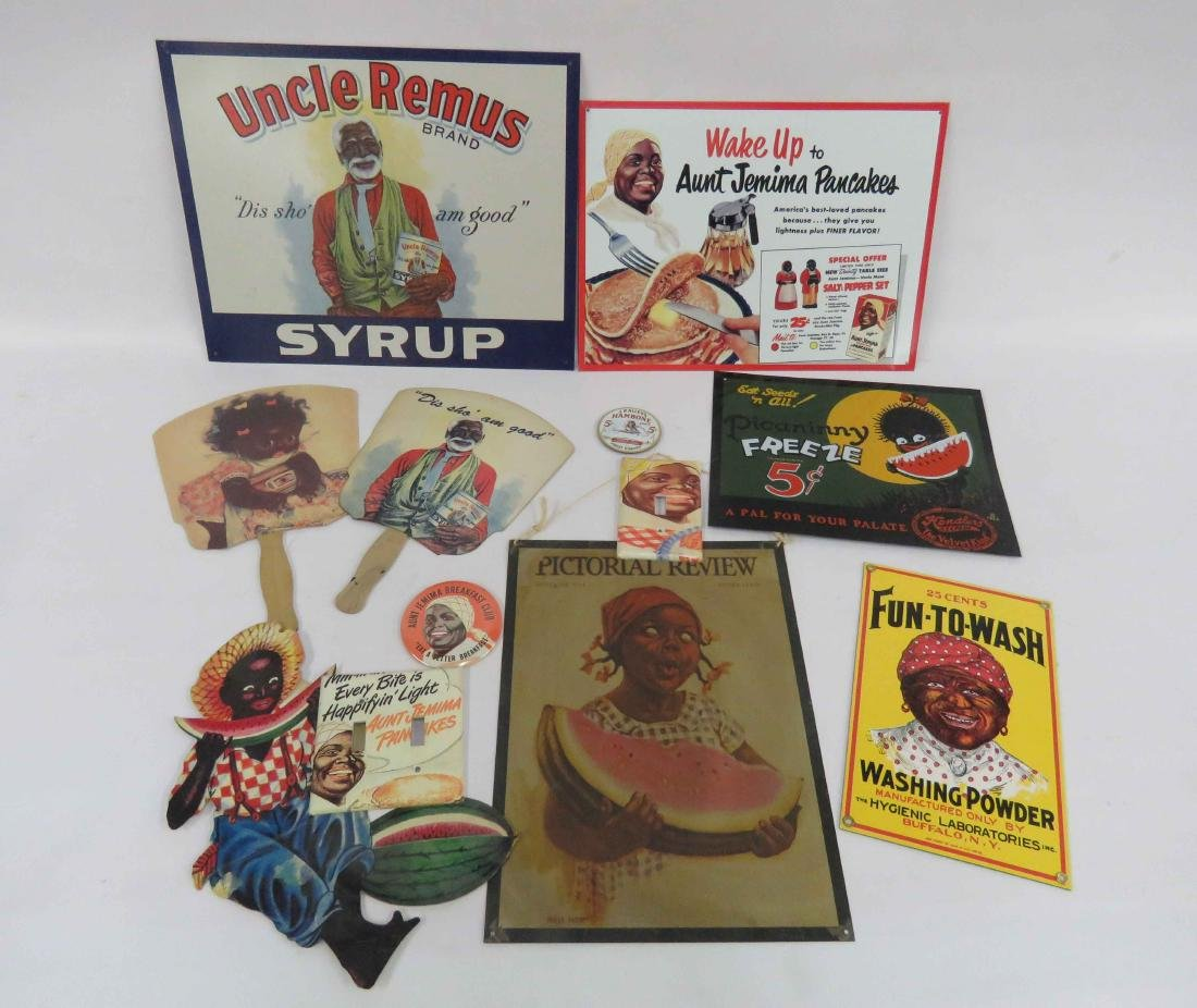 LOT BLACK AMERICANA INCLUDING STEEL ADVERTISING SIGNS,