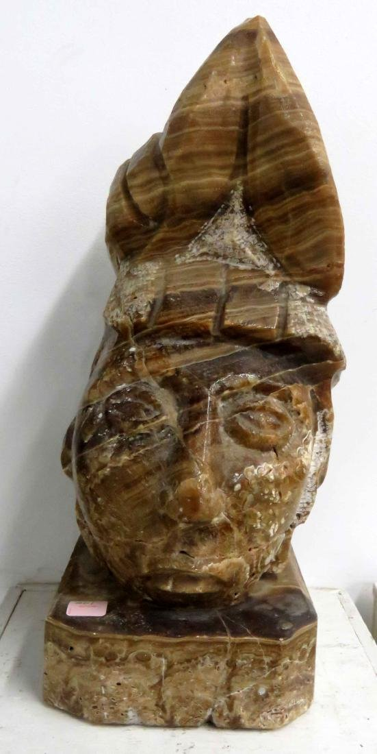 """MESO-AMERICAN CARVED AGATE HEAD OF AN AZTEC. HEIGHT 18"""""""