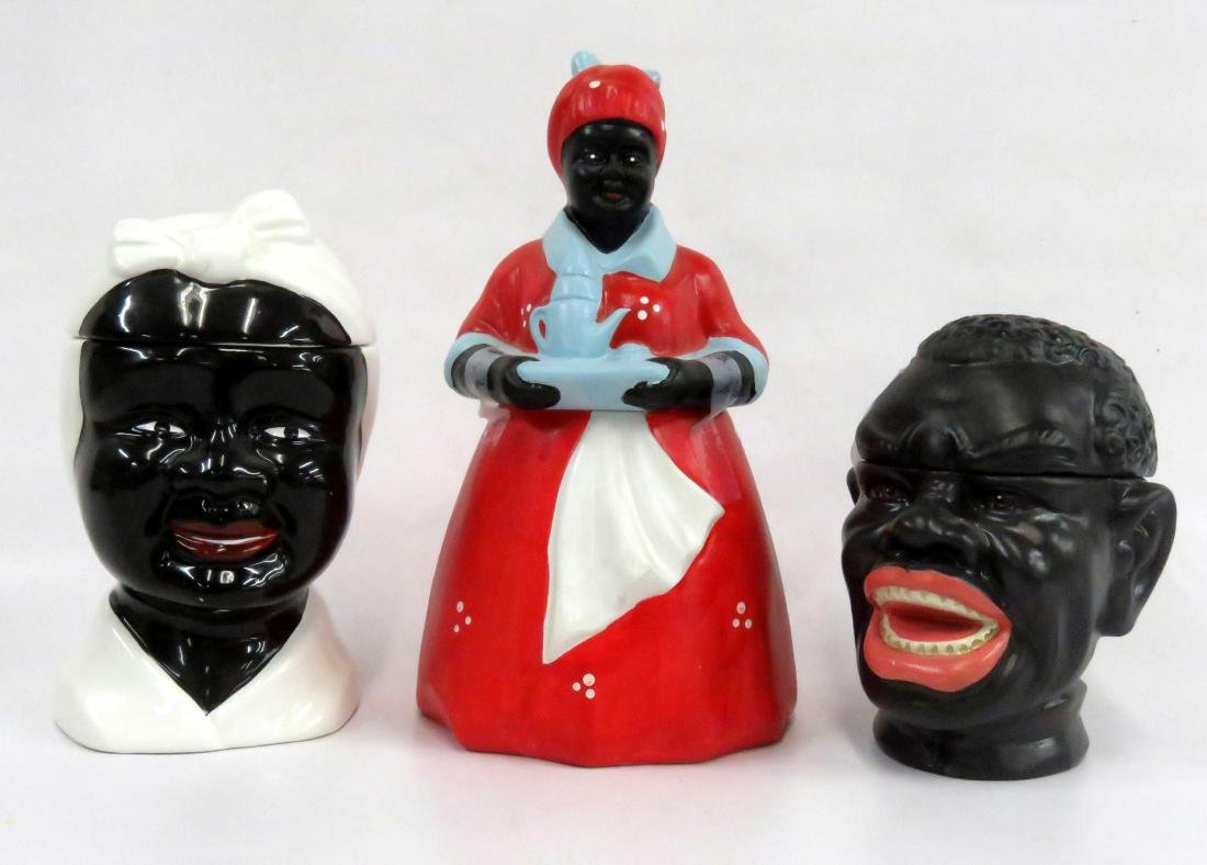 LOT (3) BLACK AMERICANA DECORATED POTTERY COOKIE JARS.