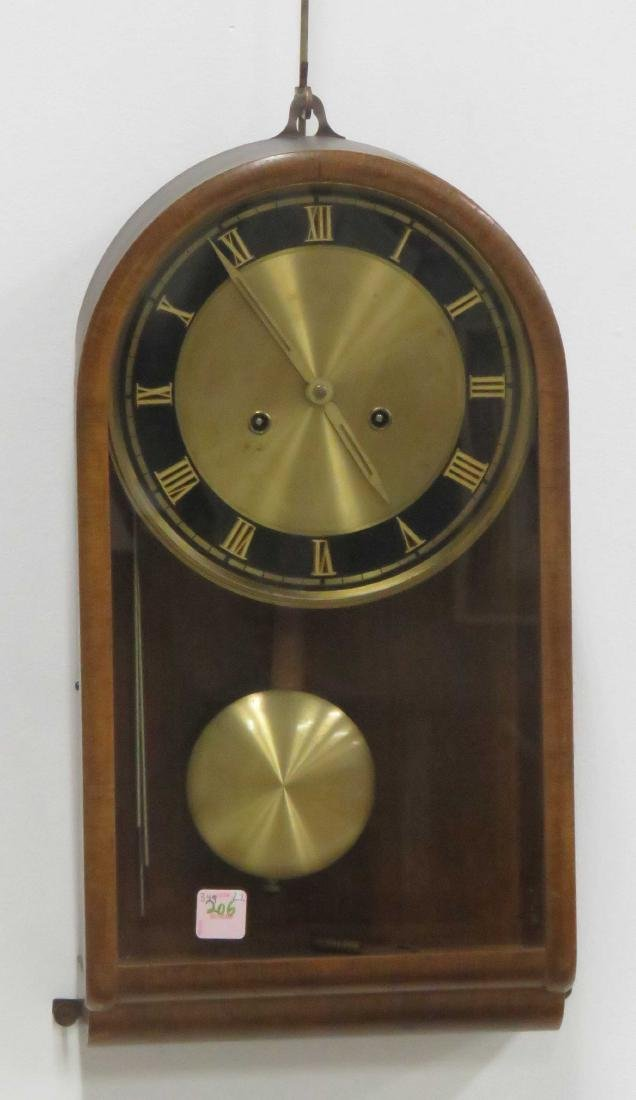 "ART DECO CONTINENTAL WALNUT WALL CLOCK. HEIGHT 18 1/2"";"