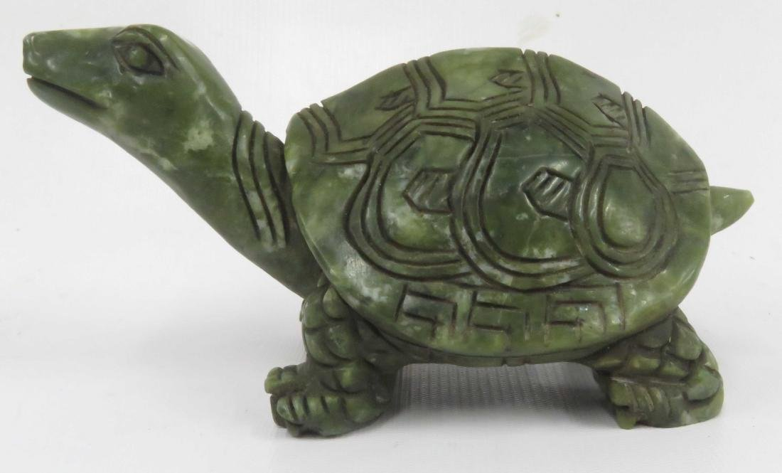CHINESE CARVED HARDSTONE FIGURE OF A TURTLE. LENGTH 7