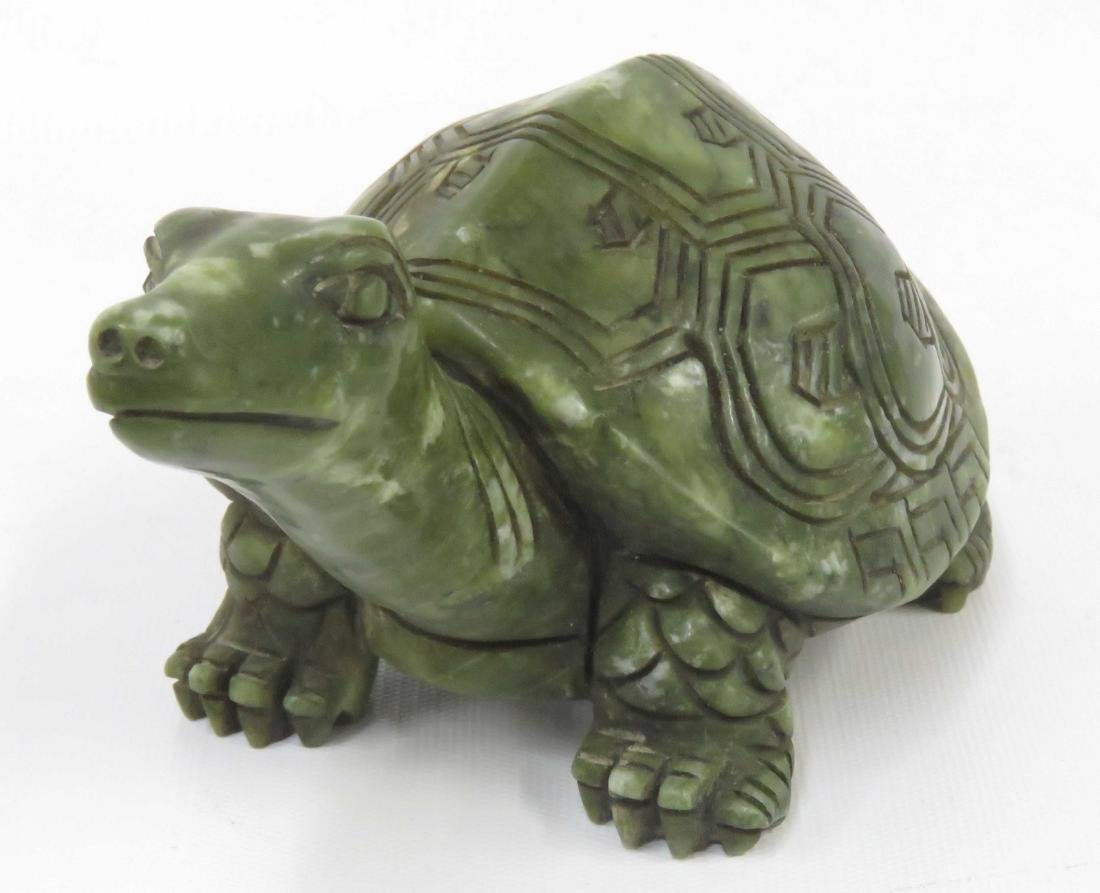 CHINESE CARVED HARDSTONE FIGURE OF A TURTLE. LENGTH 7 - 2