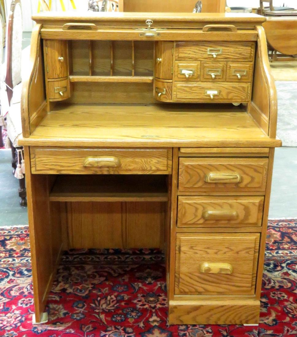 "OAK SINGLE PEDESTAL S-ROLL TOP DESK. HEIGHT 45""; WIDTH"