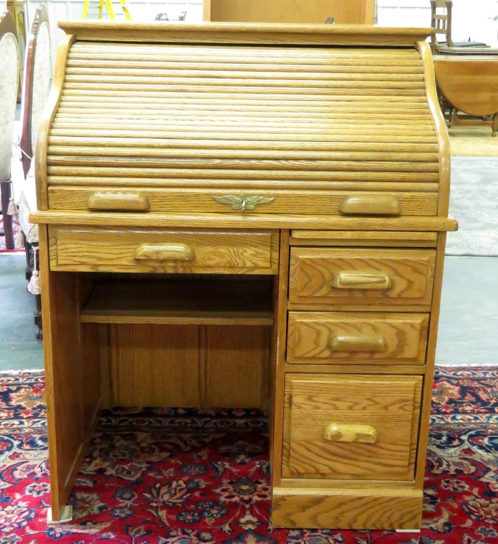 "OAK SINGLE PEDESTAL S-ROLL TOP DESK. HEIGHT 45""; WIDTH - 2"