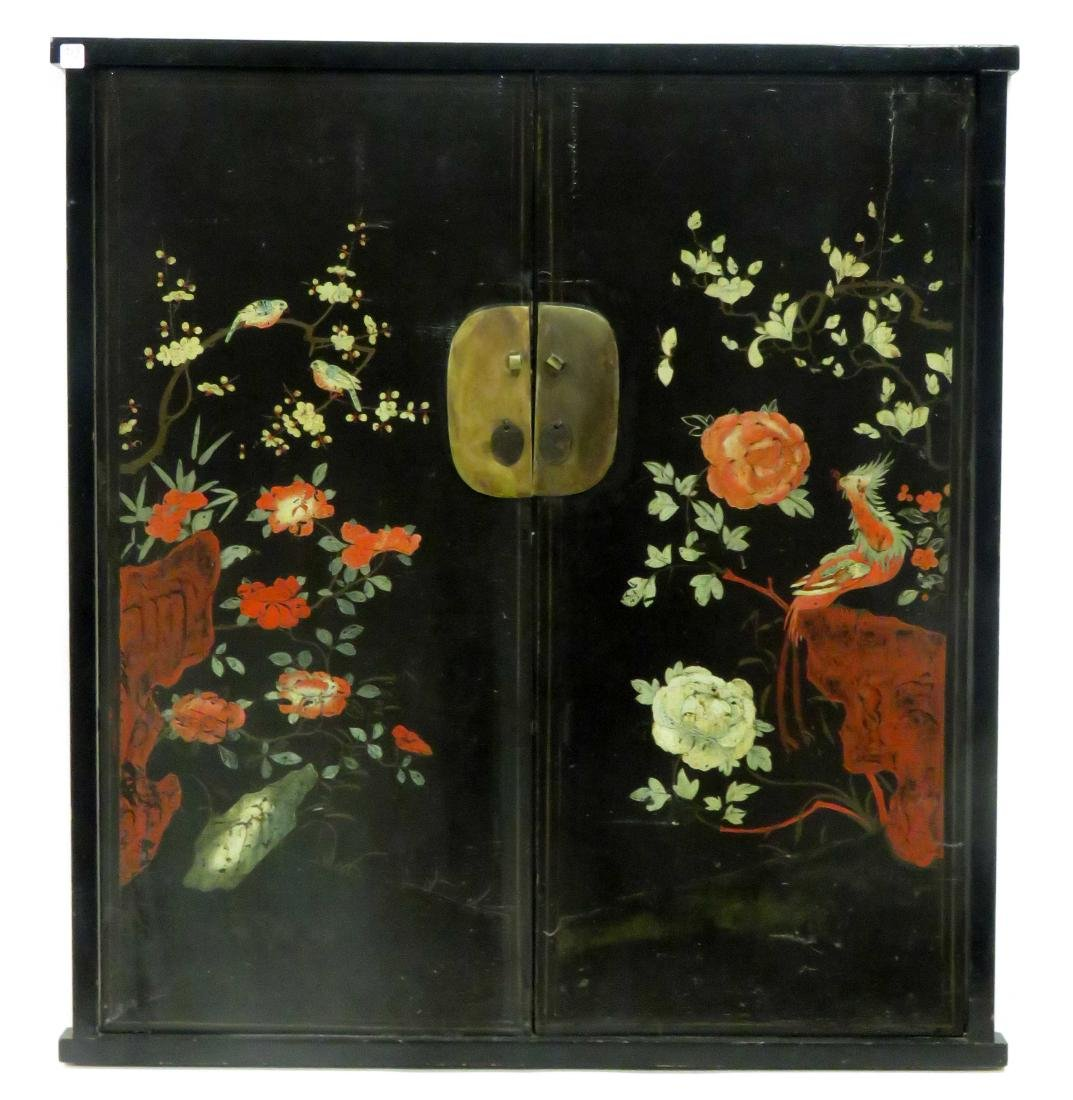 PAIR CHINESE LACQUERED AND DECORATED CABINET DOORS,