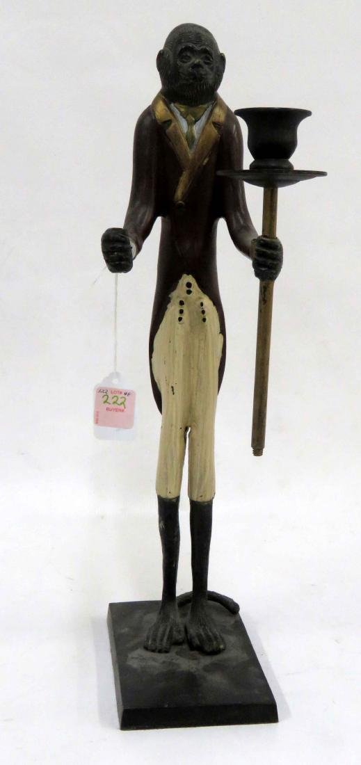 POLYCHROME BRASS MONKEY BUTLER CANDLHOLDER. HEIGHT 17""
